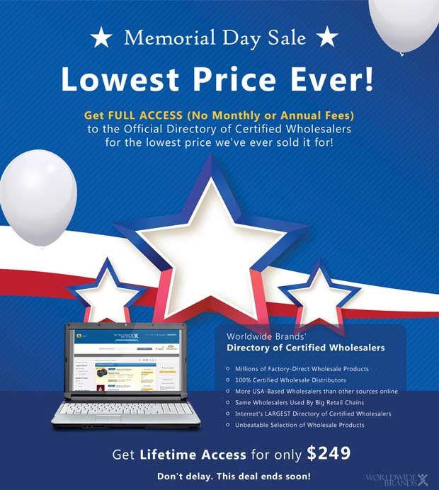Worldwide Brands discount for Memorial Day - $50 Off a lifetime membership